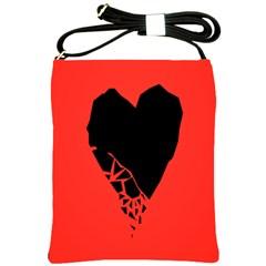 Broken Heart Tease Black Red Shoulder Sling Bags by Mariart
