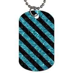 Stripes3 Black Marble & Blue Green Water (r) Dog Tag (one Side) by trendistuff