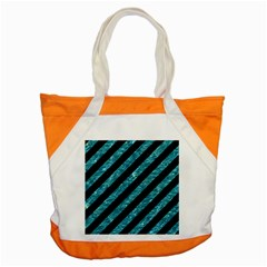 Stripes3 Black Marble & Blue Green Water Accent Tote Bag by trendistuff