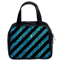 Stripes3 Black Marble & Blue Green Water Classic Handbag (two Sides) by trendistuff