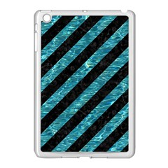 Stripes3 Black Marble & Blue Green Water Apple Ipad Mini Case (white) by trendistuff