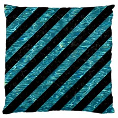 Stripes3 Black Marble & Blue Green Water Large Flano Cushion Case (one Side) by trendistuff