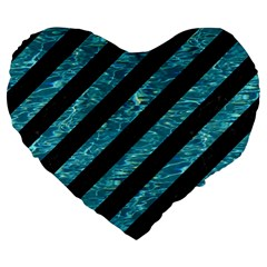 Stripes3 Black Marble & Blue Green Water Large 19  Premium Flano Heart Shape Cushion by trendistuff
