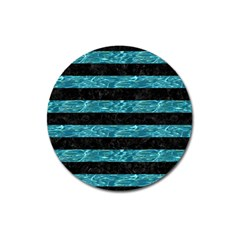Stripes2 Black Marble & Blue Green Water Magnet 3  (round) by trendistuff