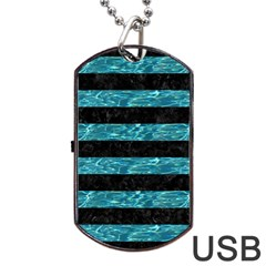 Stripes2 Black Marble & Blue Green Water Dog Tag Usb Flash (one Side) by trendistuff