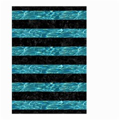 Stripes2 Black Marble & Blue Green Water Small Garden Flag (two Sides) by trendistuff