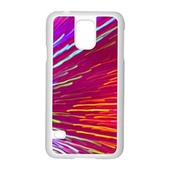 Zoom Colour Motion Blurred Zoom Background With Ray Of Light Hurtling Towards The Viewer Samsung Galaxy S5 Case (white) by Mariart