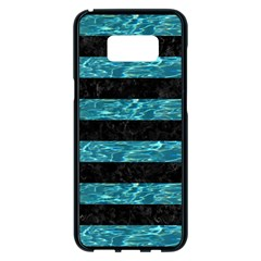 Stripes2 Black Marble & Blue Green Water Samsung Galaxy S8 Plus Black Seamless Case by trendistuff