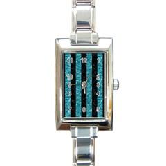 Stripes1 Black Marble & Blue Green Water Rectangle Italian Charm Watch by trendistuff