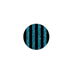 Stripes1 Black Marble & Blue Green Water 1  Mini Button by trendistuff