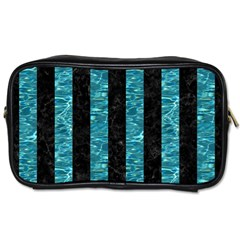 Stripes1 Black Marble & Blue Green Water Toiletries Bag (two Sides) by trendistuff