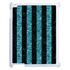 Stripes1 Black Marble & Blue Green Water Apple Ipad 2 Case (white) by trendistuff
