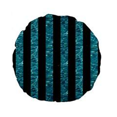 Stripes1 Black Marble & Blue Green Water Standard 15  Premium Flano Round Cushion  by trendistuff