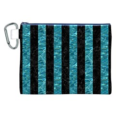 Stripes1 Black Marble & Blue Green Water Canvas Cosmetic Bag (xxl) by trendistuff