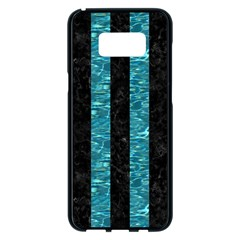 Stripes1 Black Marble & Blue Green Water Samsung Galaxy S8 Plus Black Seamless Case by trendistuff