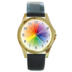 Colour Value Diagram Circle Round Round Gold Metal Watch by Mariart
