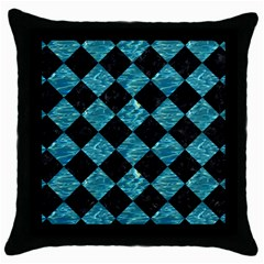 Square2 Black Marble & Blue Green Water Throw Pillow Case (black) by trendistuff