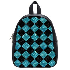 Square2 Black Marble & Blue Green Water School Bag (small) by trendistuff