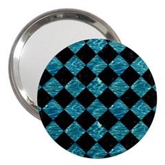 Square2 Black Marble & Blue Green Water 3  Handbag Mirror by trendistuff