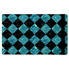 Square2 Black Marble & Blue Green Water Apple Ipad 3/4 Flip Case by trendistuff