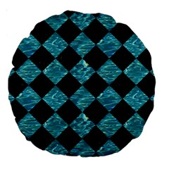 Square2 Black Marble & Blue Green Water Large 18  Premium Round Cushion  by trendistuff
