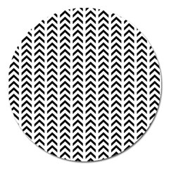 Chevron Triangle Black Magnet 5  (round) by Mariart