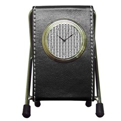 Chevron Triangle Black Pen Holder Desk Clocks by Mariart