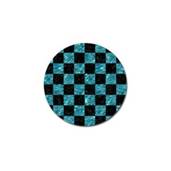 Square1 Black Marble & Blue Green Water Golf Ball Marker by trendistuff