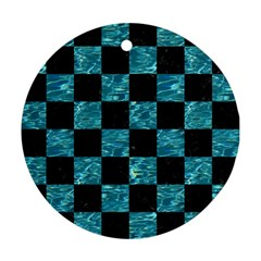 Square1 Black Marble & Blue Green Water Round Ornament (two Sides) by trendistuff
