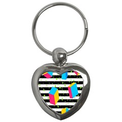 Cube Line Polka Dots Horizontal Triangle Pink Yellow Blue Green Black Flag Key Chains (heart)  by Mariart