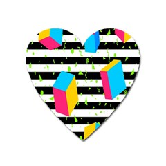 Cube Line Polka Dots Horizontal Triangle Pink Yellow Blue Green Black Flag Heart Magnet by Mariart