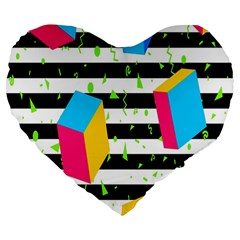 Cube Line Polka Dots Horizontal Triangle Pink Yellow Blue Green Black Flag Large 19  Premium Heart Shape Cushions by Mariart