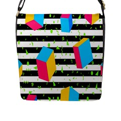 Cube Line Polka Dots Horizontal Triangle Pink Yellow Blue Green Black Flag Flap Messenger Bag (l)  by Mariart