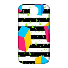 Cube Line Polka Dots Horizontal Triangle Pink Yellow Blue Green Black Flag Samsung Galaxy S4 Classic Hardshell Case (pc+silicone) by Mariart