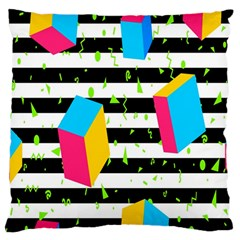Cube Line Polka Dots Horizontal Triangle Pink Yellow Blue Green Black Flag Standard Flano Cushion Case (two Sides) by Mariart