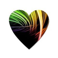Colorful Abstract Fantasy Modern Green Gold Purple Light Black Line Heart Magnet by Mariart