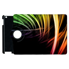 Colorful Abstract Fantasy Modern Green Gold Purple Light Black Line Apple Ipad 2 Flip 360 Case by Mariart