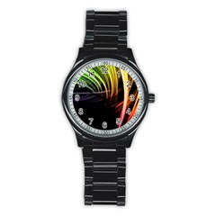 Colorful Abstract Fantasy Modern Green Gold Purple Light Black Line Stainless Steel Round Watch by Mariart