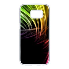 Colorful Abstract Fantasy Modern Green Gold Purple Light Black Line Samsung Galaxy S7 Edge White Seamless Case by Mariart