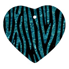 Skin4 Black Marble & Blue Green Water (r) Heart Ornament (two Sides) by trendistuff