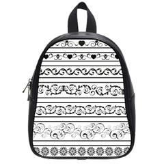 Black White Decorative Ornaments School Bags (small)  by Mariart