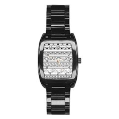 Black White Decorative Ornaments Stainless Steel Barrel Watch by Mariart