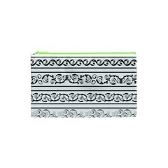 Black White Decorative Ornaments Cosmetic Bag (xs) by Mariart