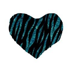 Skin3 Black Marble & Blue Green Water Standard 16  Premium Flano Heart Shape Cushion  by trendistuff