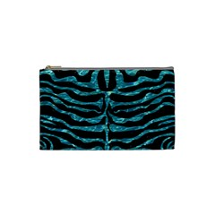 Skin2 Black Marble & Blue Green Water Cosmetic Bag (small) by trendistuff