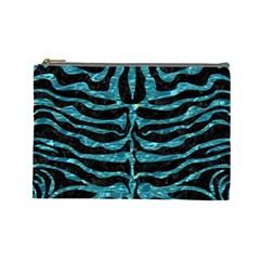 Skin2 Black Marble & Blue Green Water Cosmetic Bag (large) by trendistuff