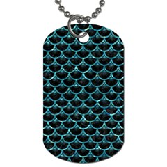 Scales3 Black Marble & Blue Green Water Dog Tag (two Sides) by trendistuff
