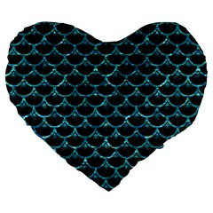 Scales3 Black Marble & Blue Green Water Large 19  Premium Flano Heart Shape Cushion by trendistuff