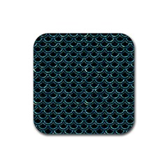 Scales2 Black Marble & Blue Green Water Rubber Square Coaster (4 Pack) by trendistuff