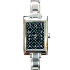 Scales1 Black Marble & Blue Green Water Rectangle Italian Charm Watch by trendistuff